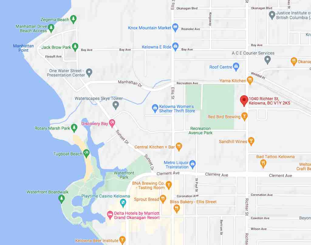 Temple Tattoo Map in Kelowna - 1040 Richter Street
